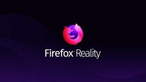 Une page avec le logo Firefox Reality