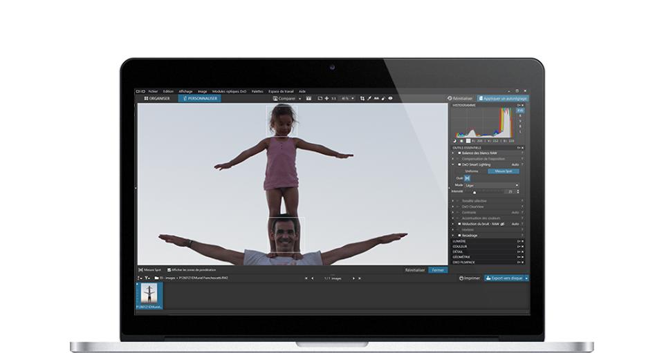 L'interface du logiciel DxO Photolab