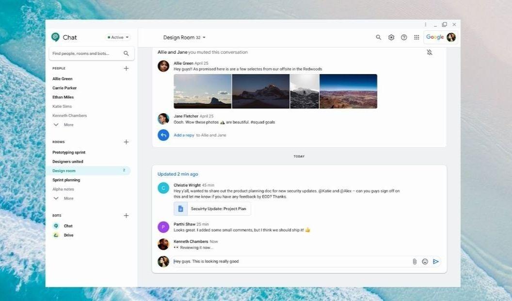 L'interface de Google Chat