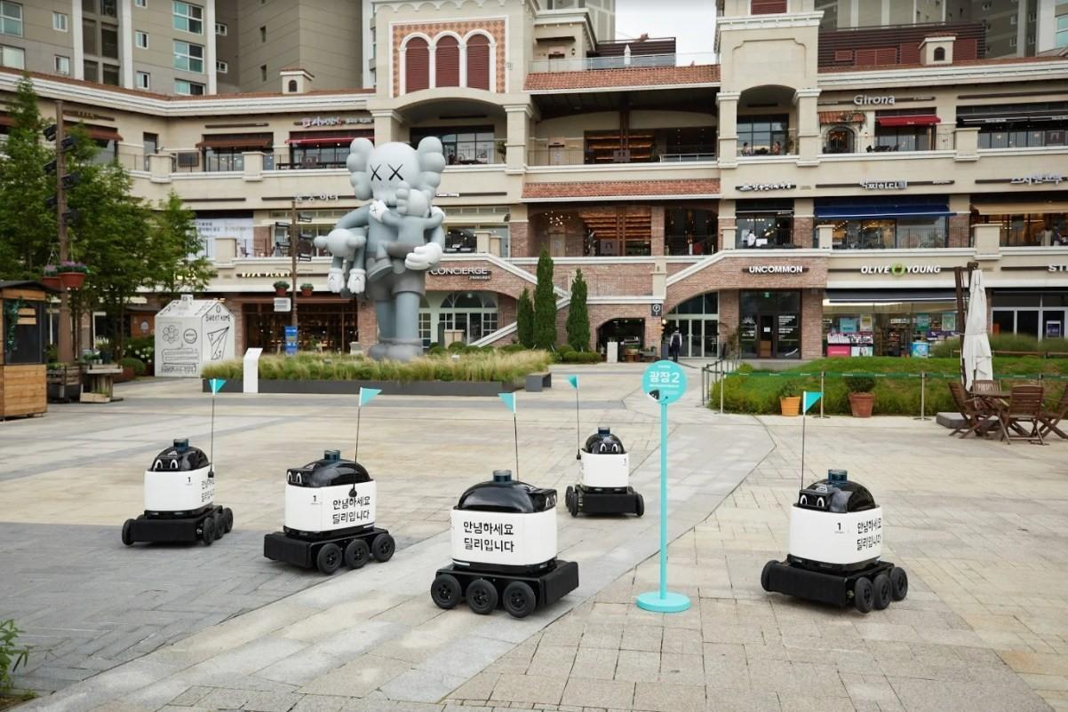 Les robots de Woowa Brothers (Photo : Woowa Brothers).